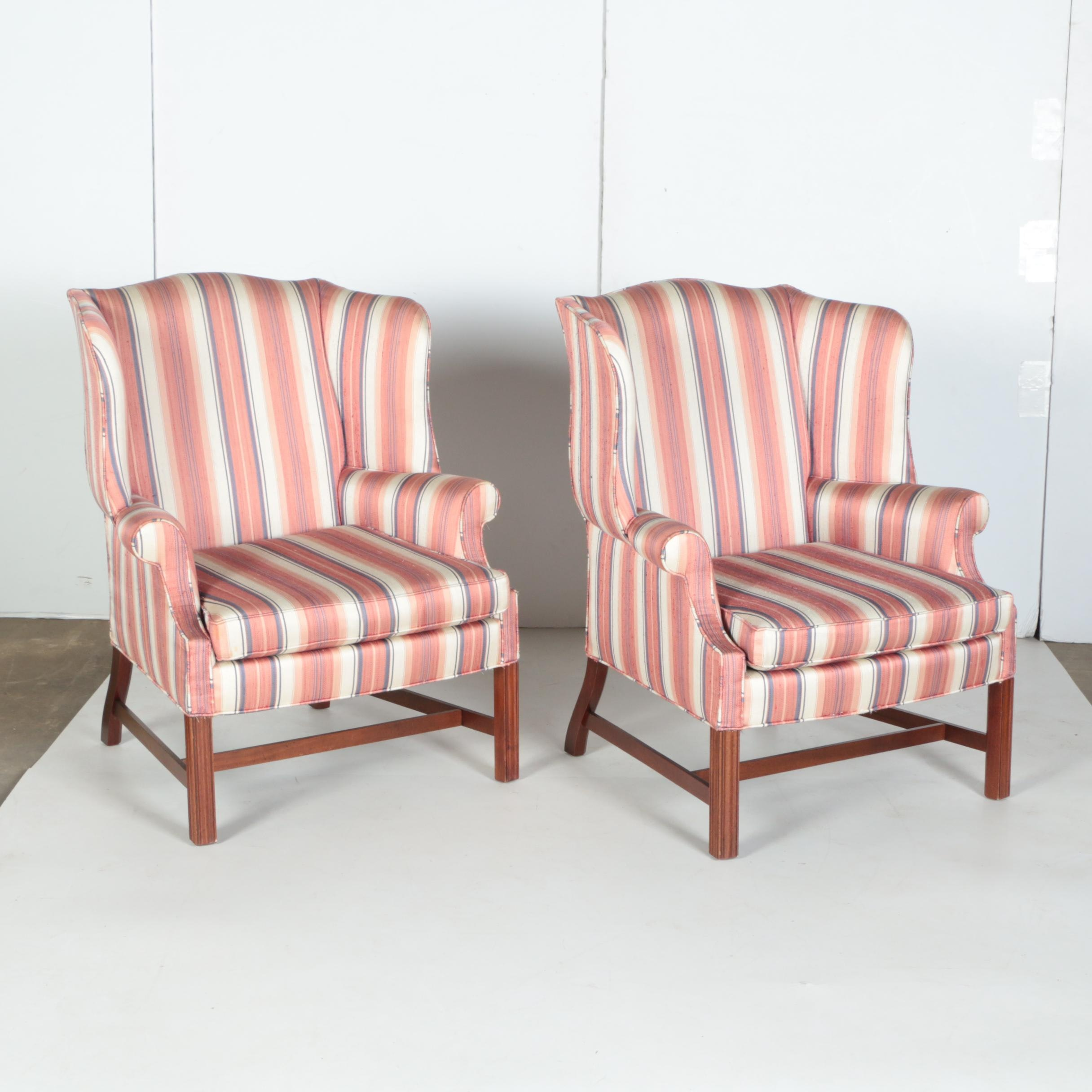 Pair of Chippendale Style Wingback Armchairs by Woodmark Originals