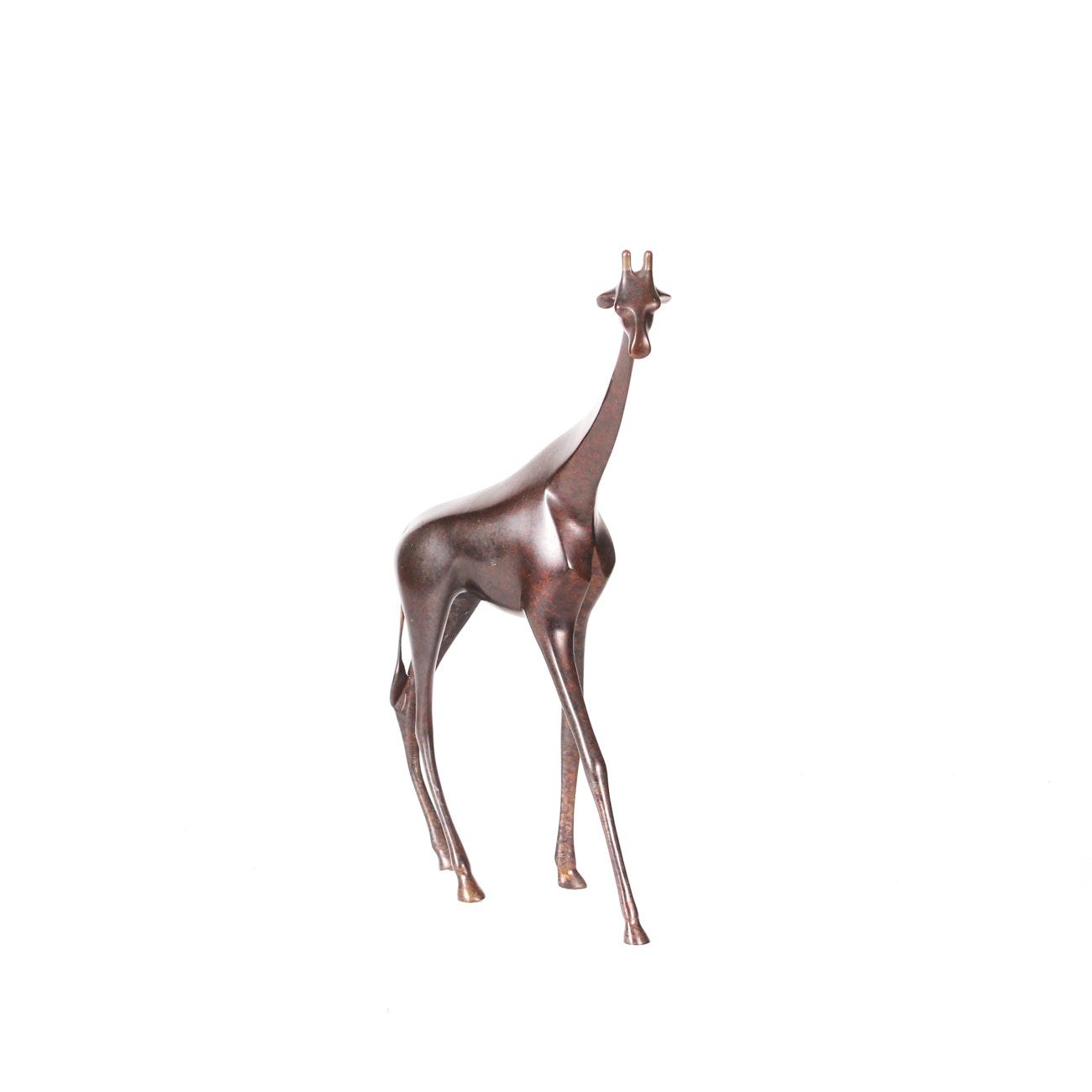 Loet Vanderveen Limited Edition Painted Bronze Sculpture of Giraffe
