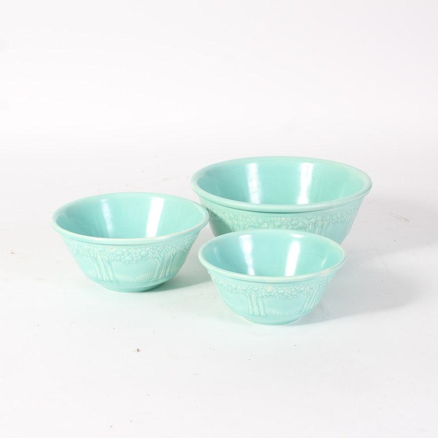 set of homer laughlin aqua apple tree mixing bowls ebth