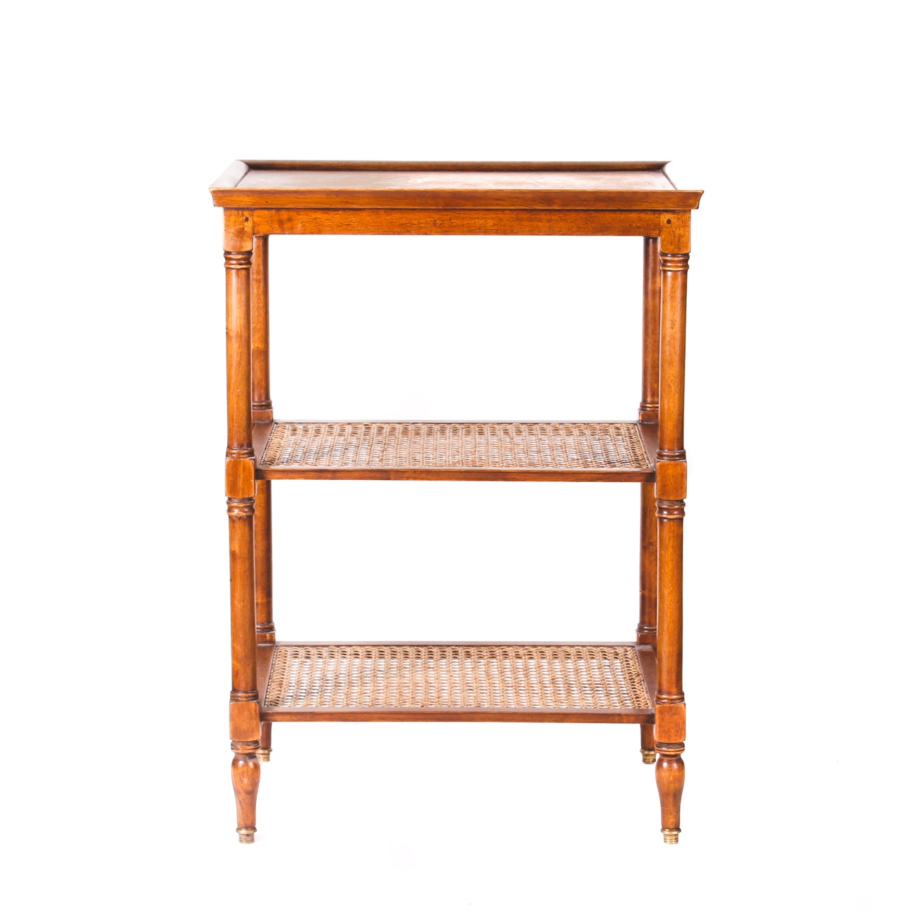 Split Cane and Wood Tiered Shelf