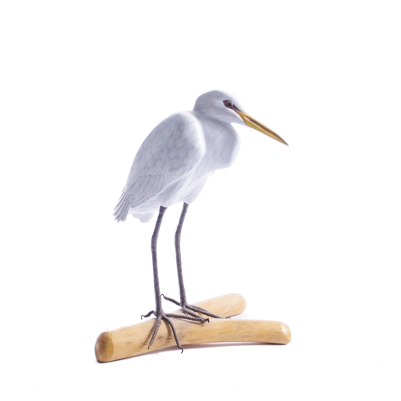 Hand-painted Wood Sculpture of Egret on Driftwood