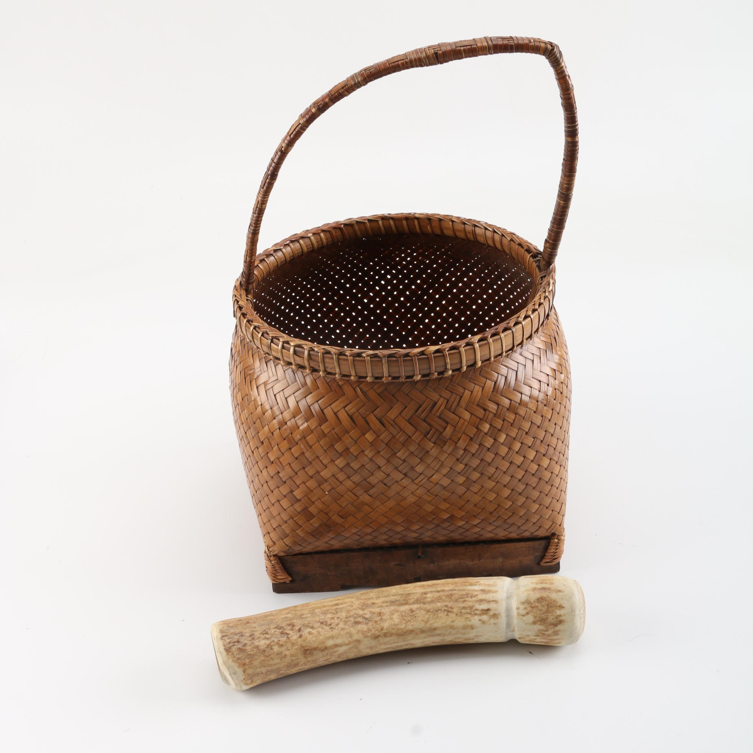 Woven Basket with Handle and Antler