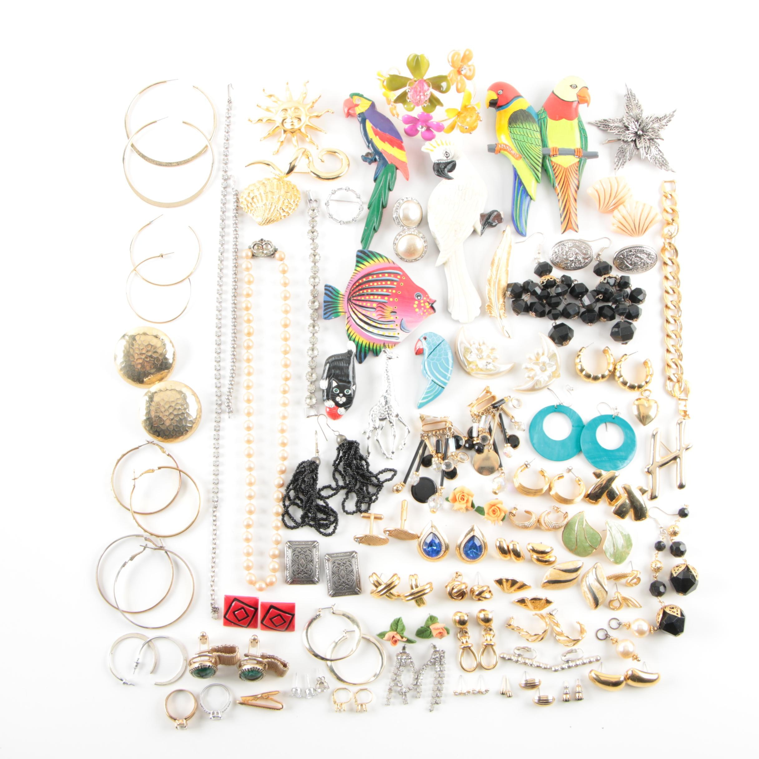 Generous Assortment of Jewelry Including Weiss and Animal Themed Brooches