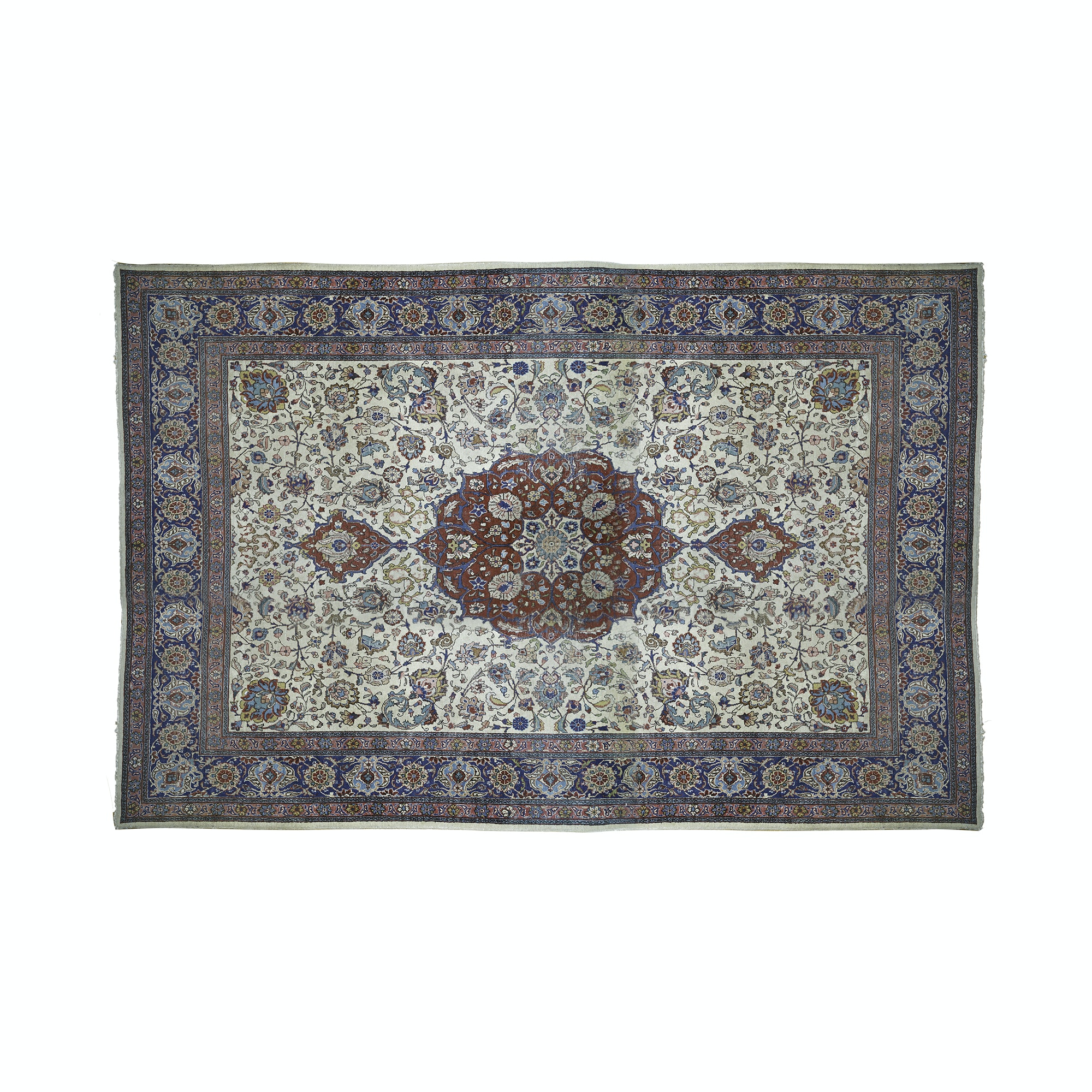 Semi-Antique Hand-Knotted Qum Wool Room Sized Rug
