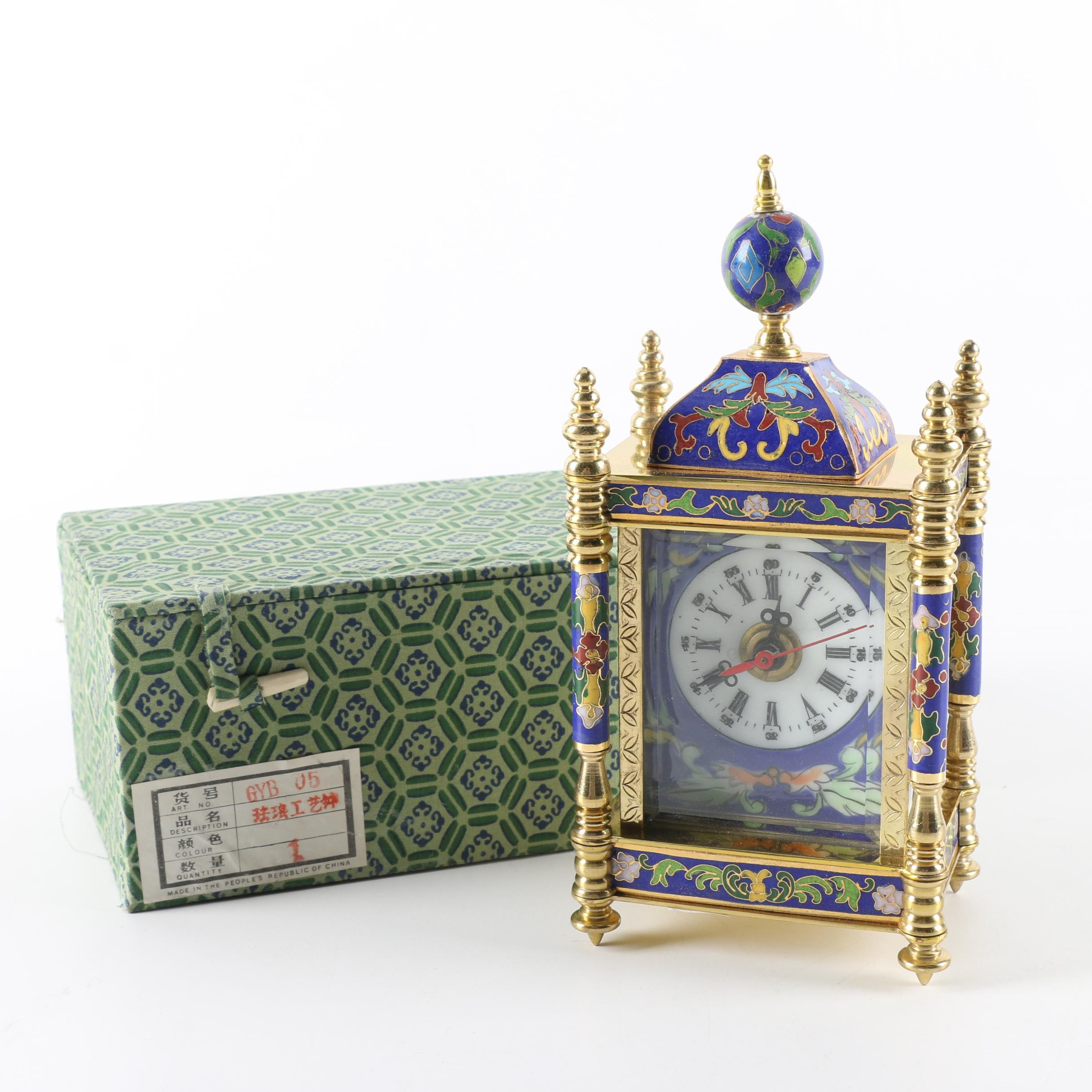 Chinese French Empire Style Cloisonne and Metal Shelf Clock