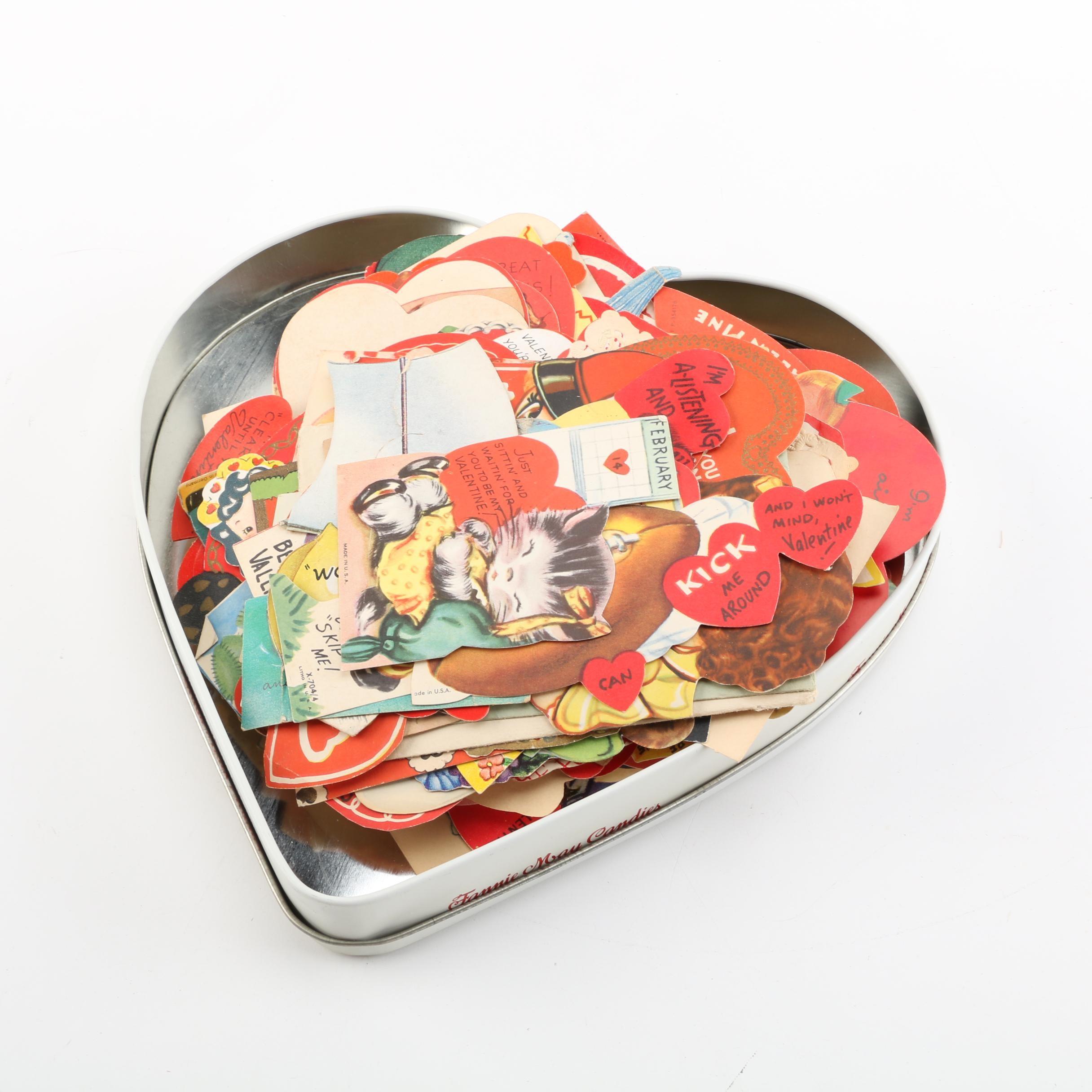 Vintage Valentine Cards in Heart Tin