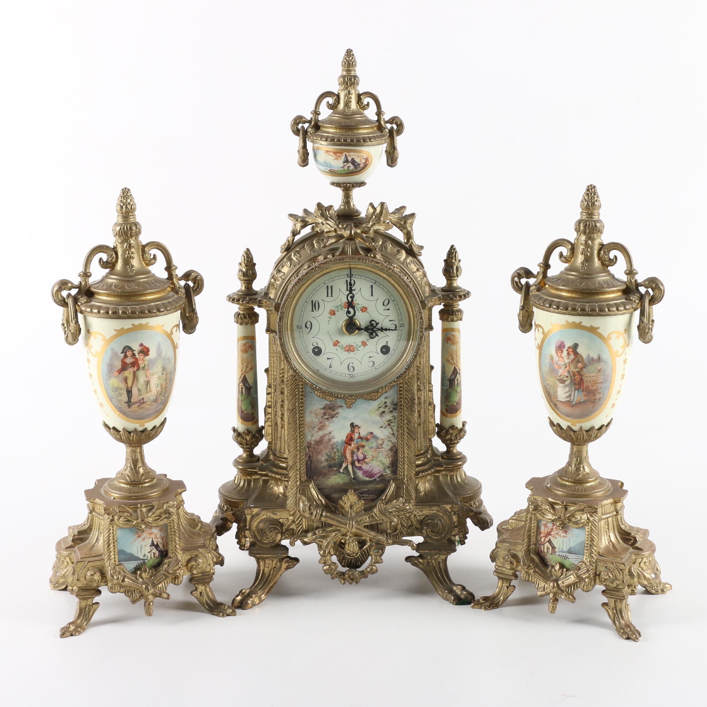 Lancini Italian Ceramic and Brass Clock Garniture Set