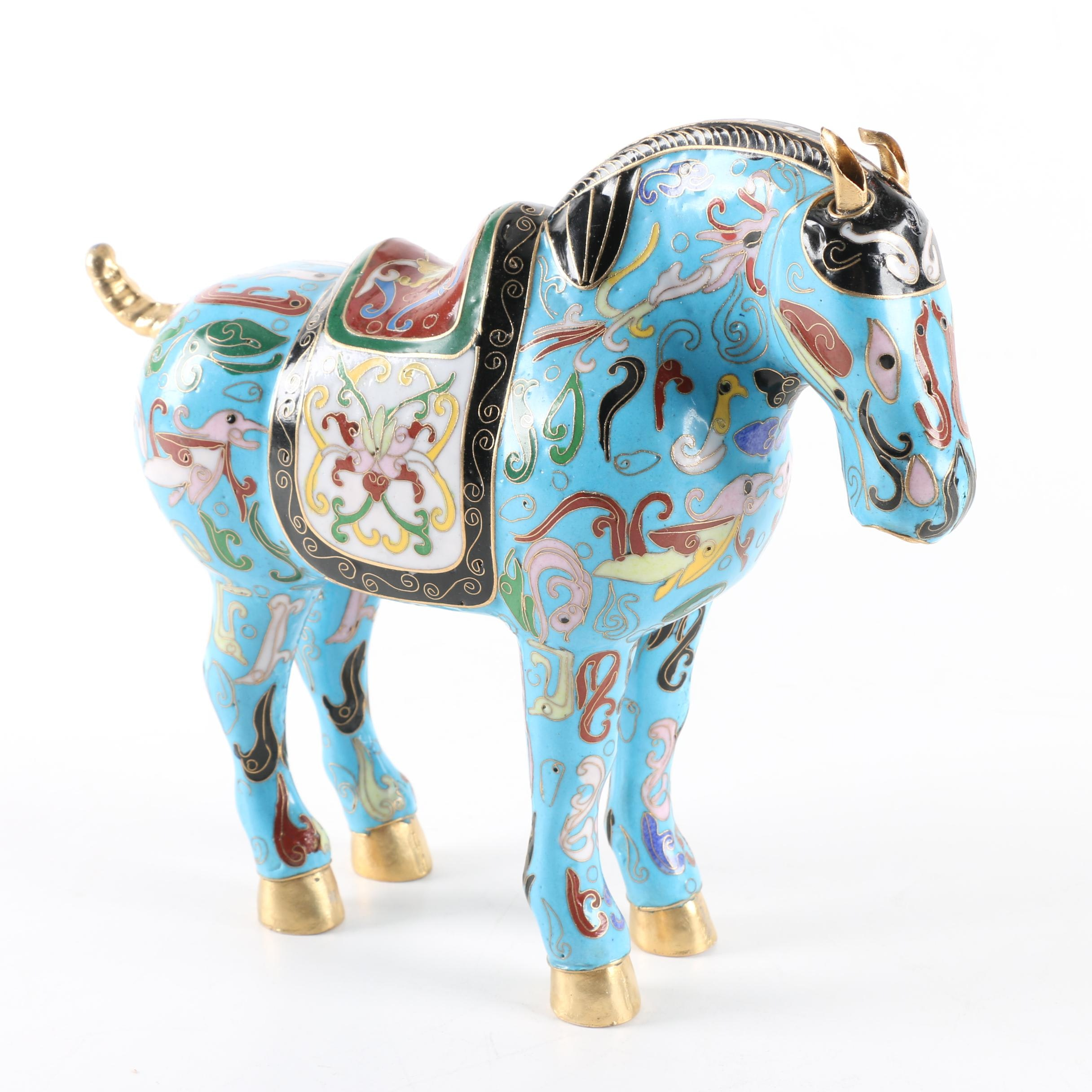 Chinese Cloisonné Horse Figurine