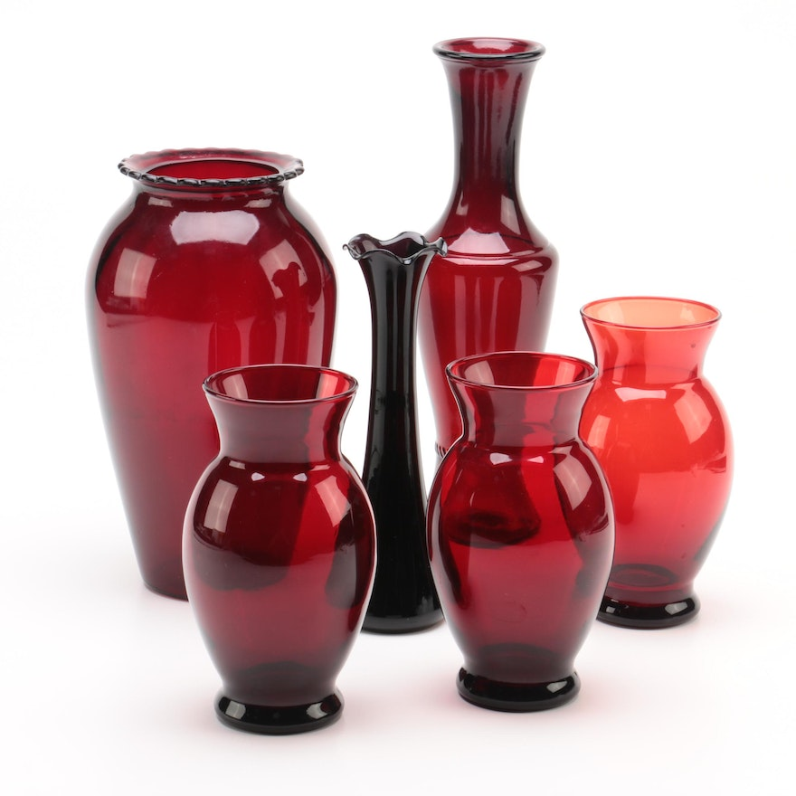 Ruby Red Glass Vases Ebth