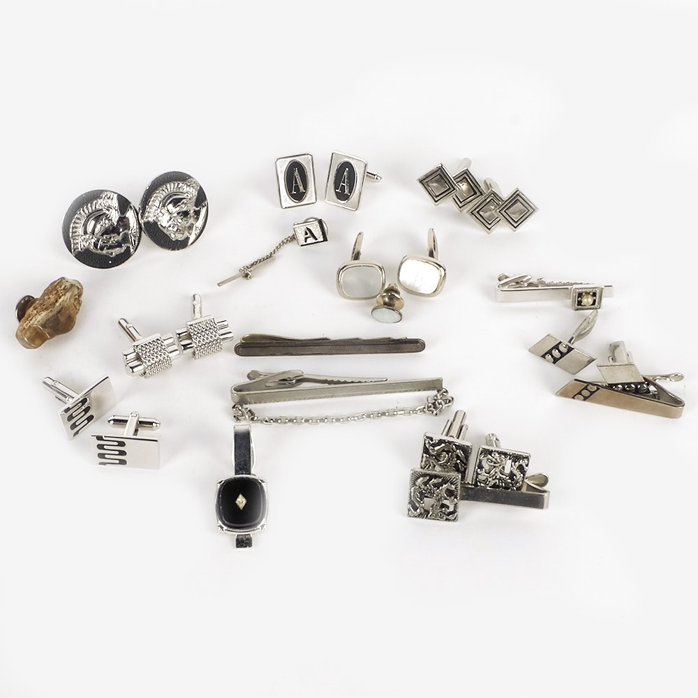 Cufflink, Tie Clip, and Tie Pin Assortment