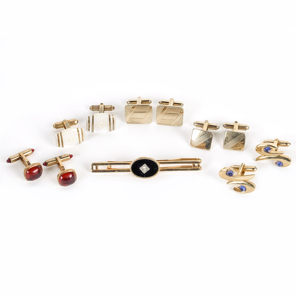 Assortment of Cufflinks with Tie Clip