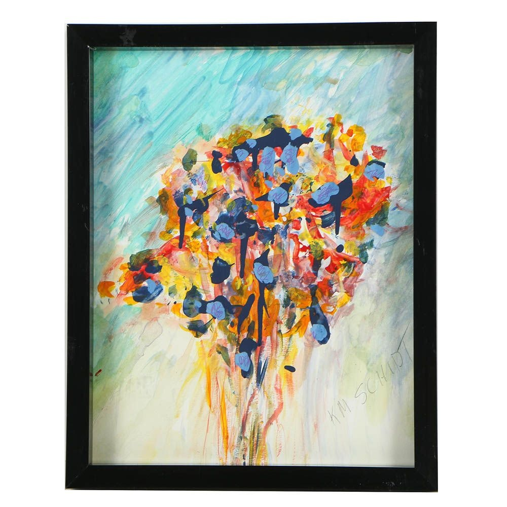K.M. Schidt Acrylic Painting of Abstract Bouquet