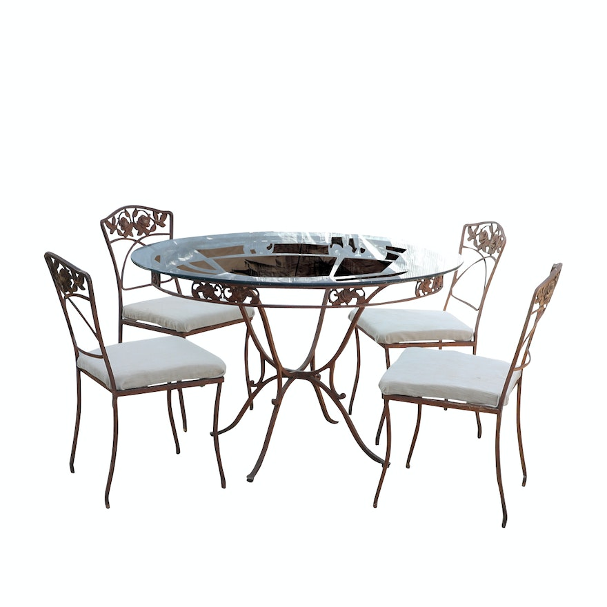 Marvelous O W Lee Normandy Rose Glass Top Wrought Iron Patio Table With Chairs Download Free Architecture Designs Viewormadebymaigaardcom