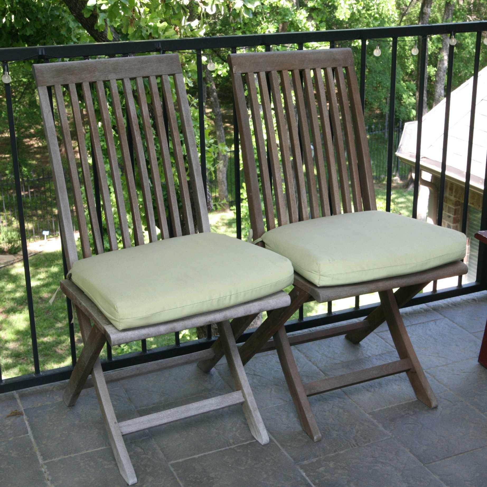 Pair of Outdoor Wood Folding Chairs