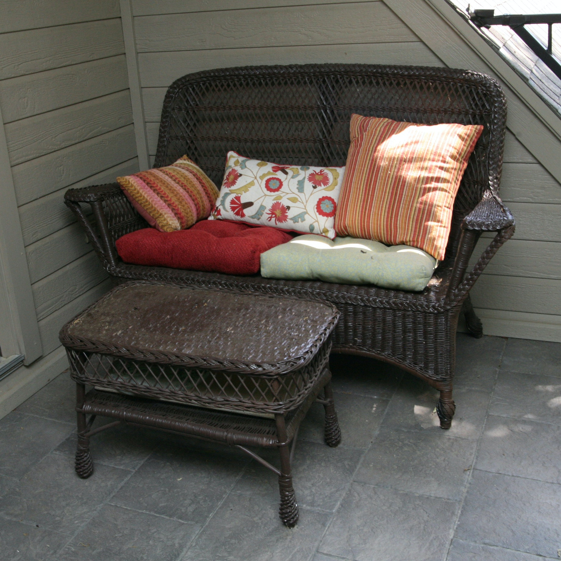 Wicker Patio Loveseat with Ottoman and Cushions