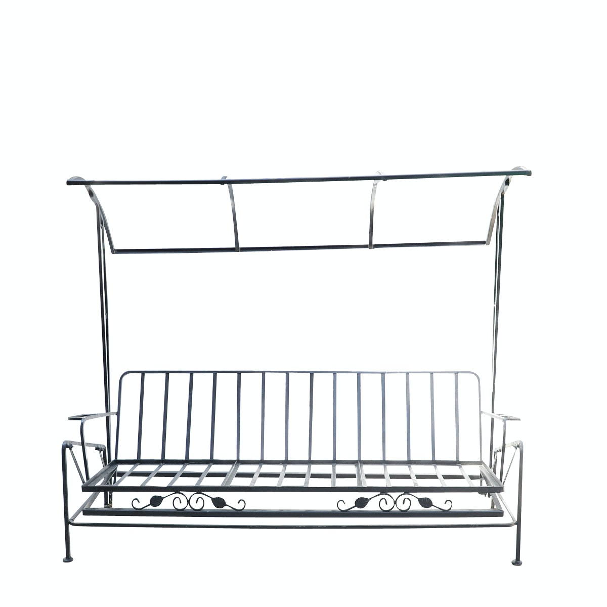 Black Cast Iron Outdoor Glider Bench
