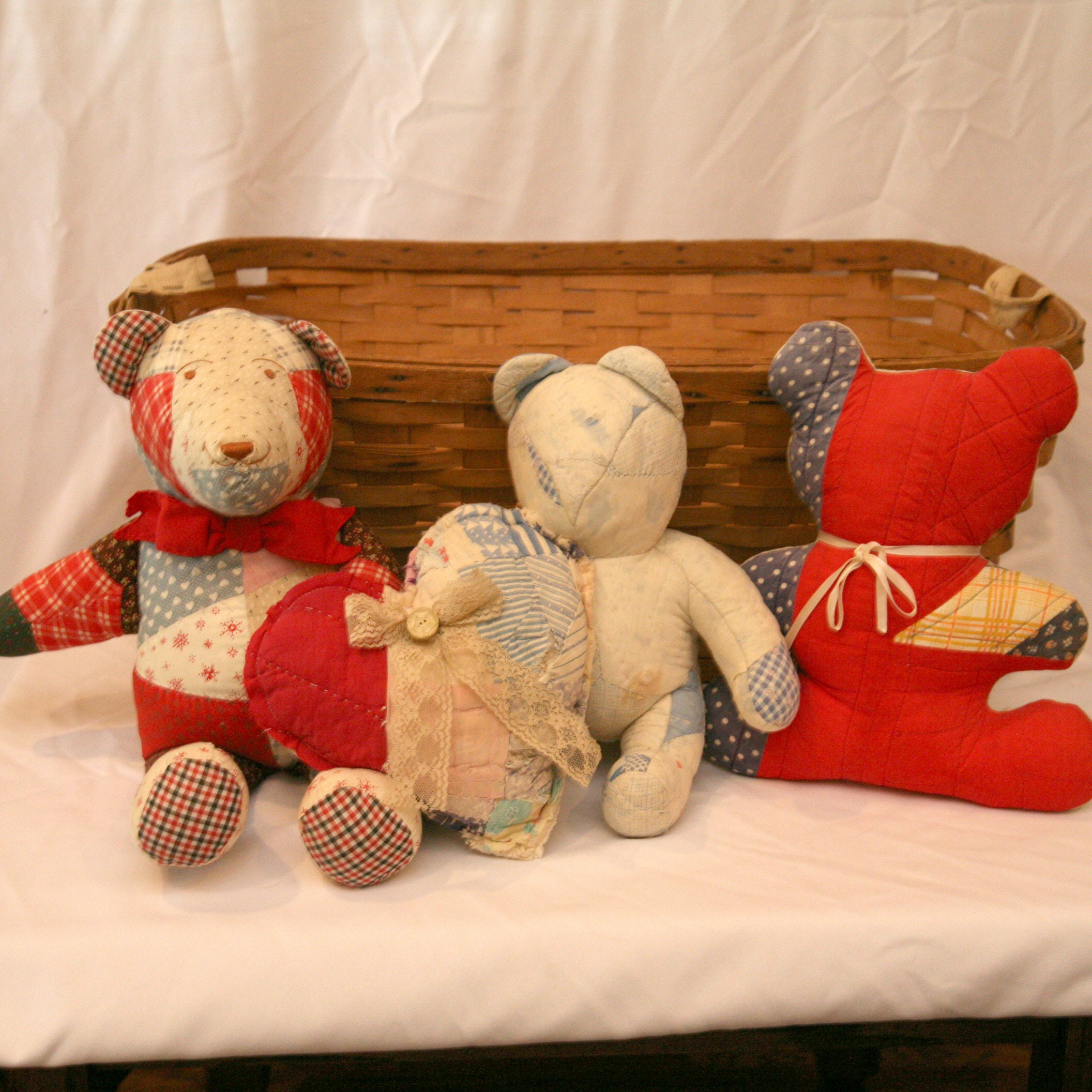 Basket with Quilted Teddy Bears and Heart Accent
