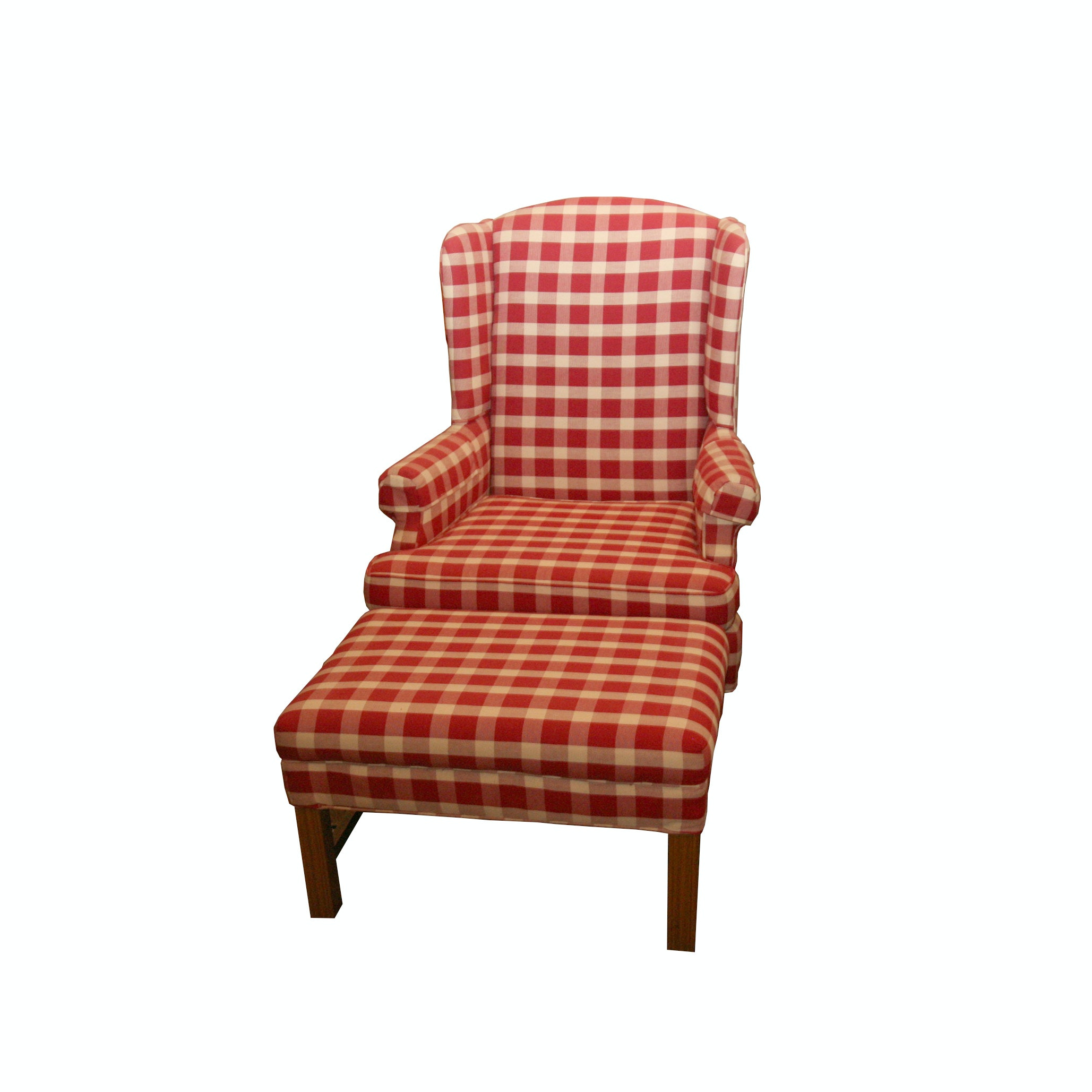 Contemporary Upholstered Wingback Chair and Ottoman by Marlow Furniture