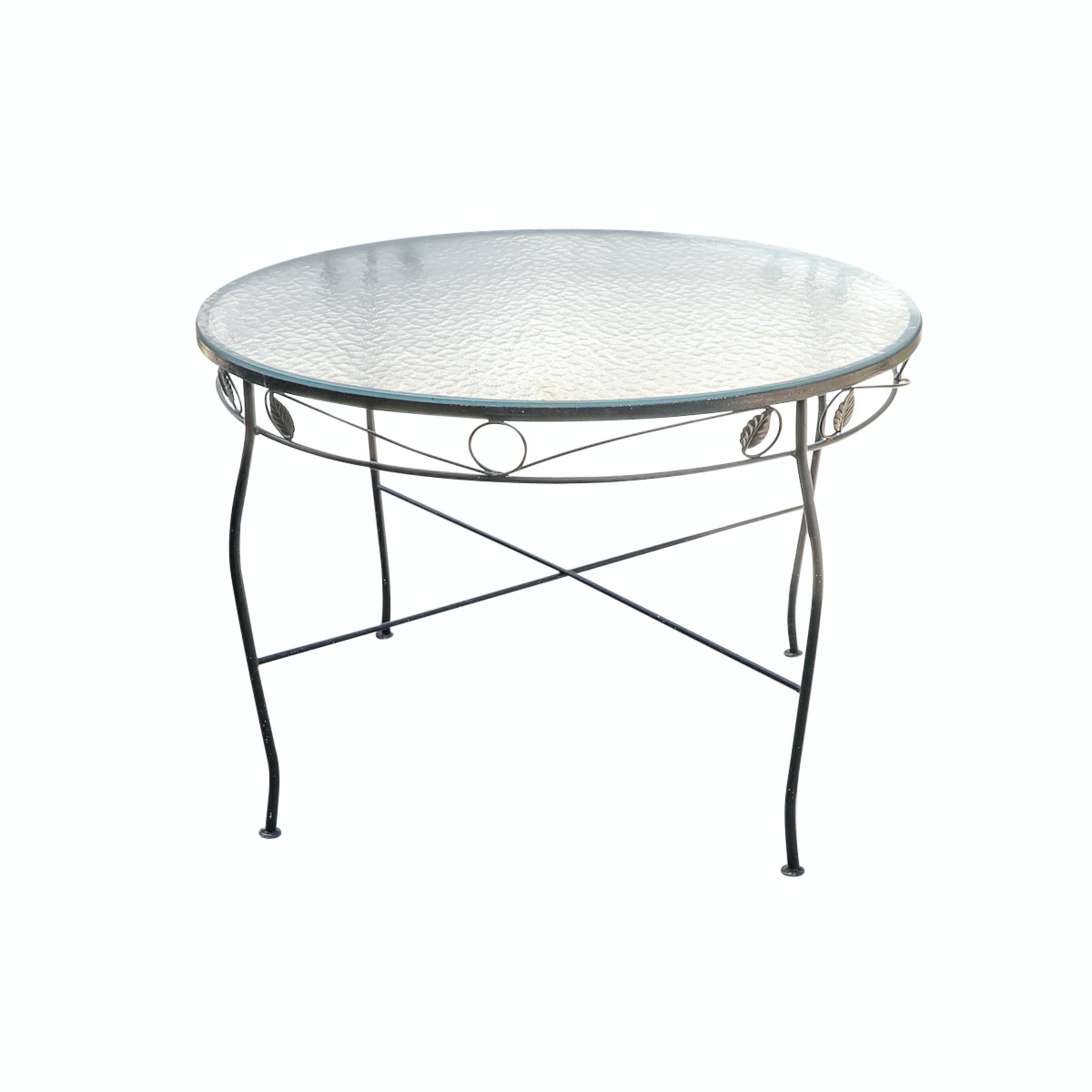 Wrought Iron Patio Table with Glass Top