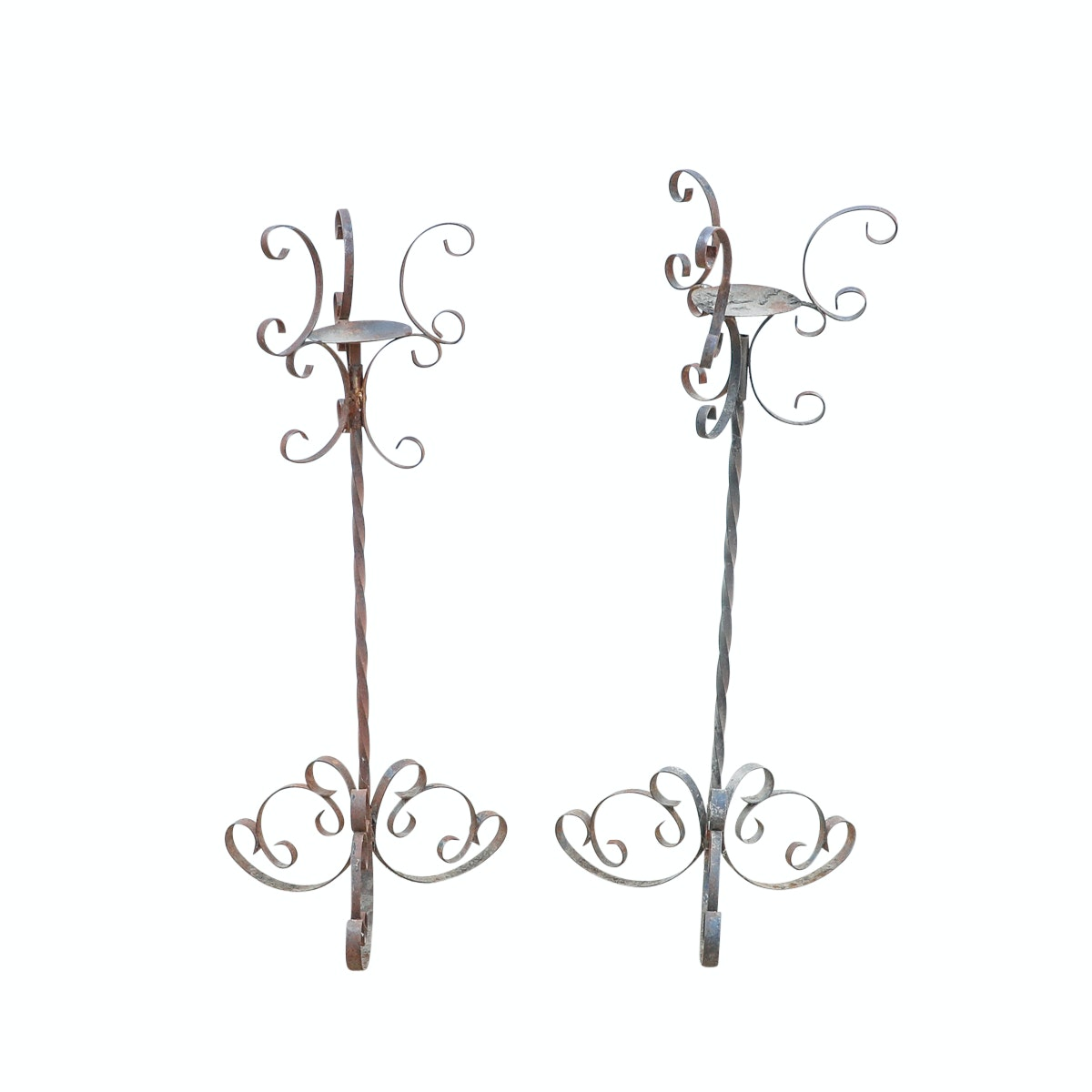 Outdoor Metal Candle Holders with Scrolling Accents