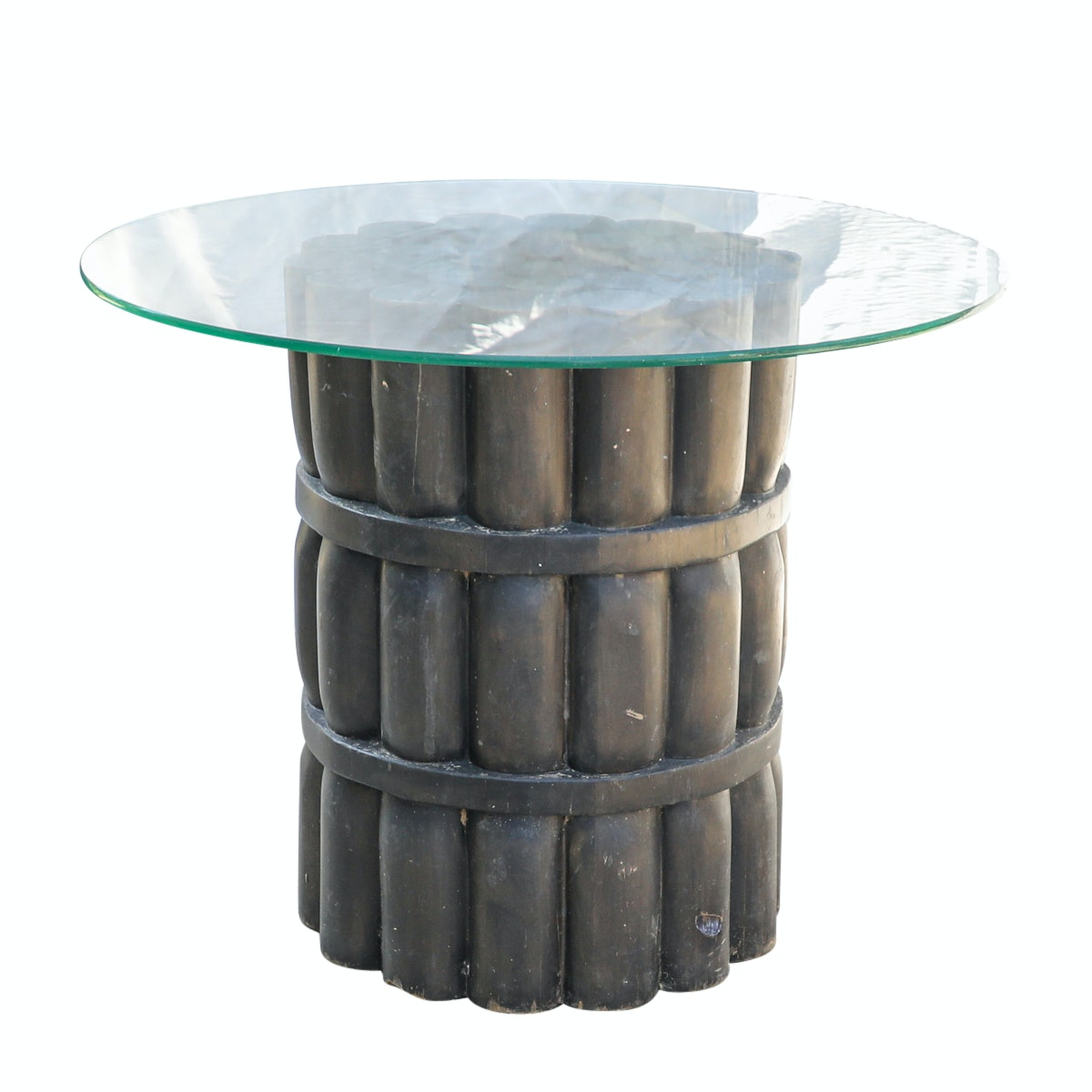 Glass Top Wooden Side Table