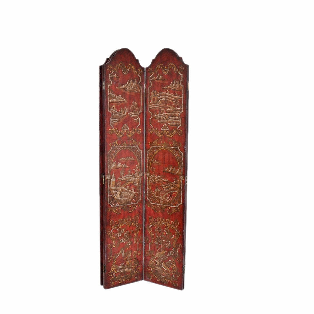 Contemporary Chinoiserie Red Lacquered Six Panel Screen