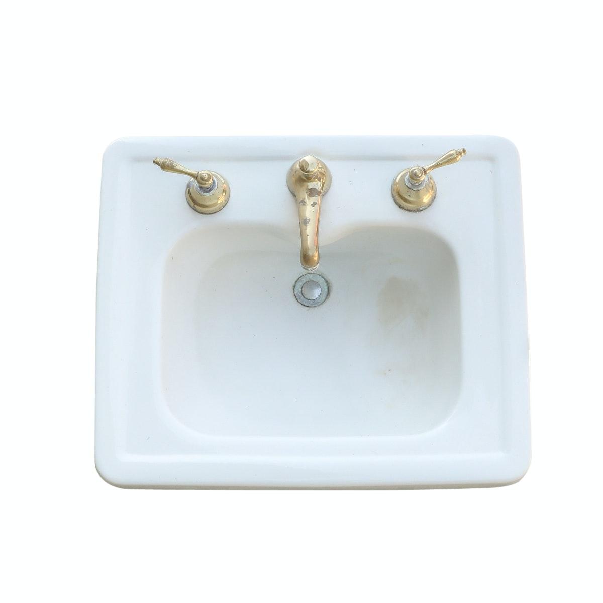 Early 20th Century Bathroom Pedestal Sink by Standard