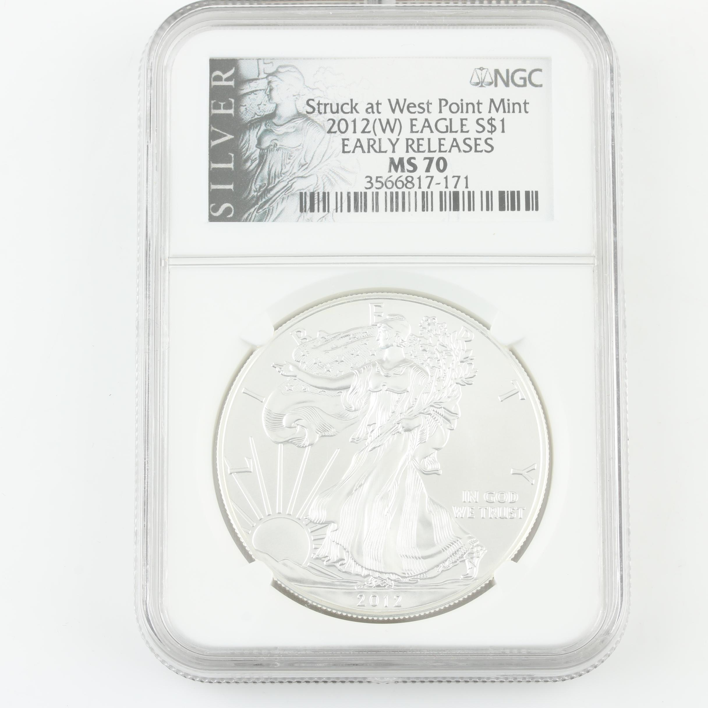 NGC Graded MS70 2012-W Walking Liberty Silver Eagle Bullion Coin