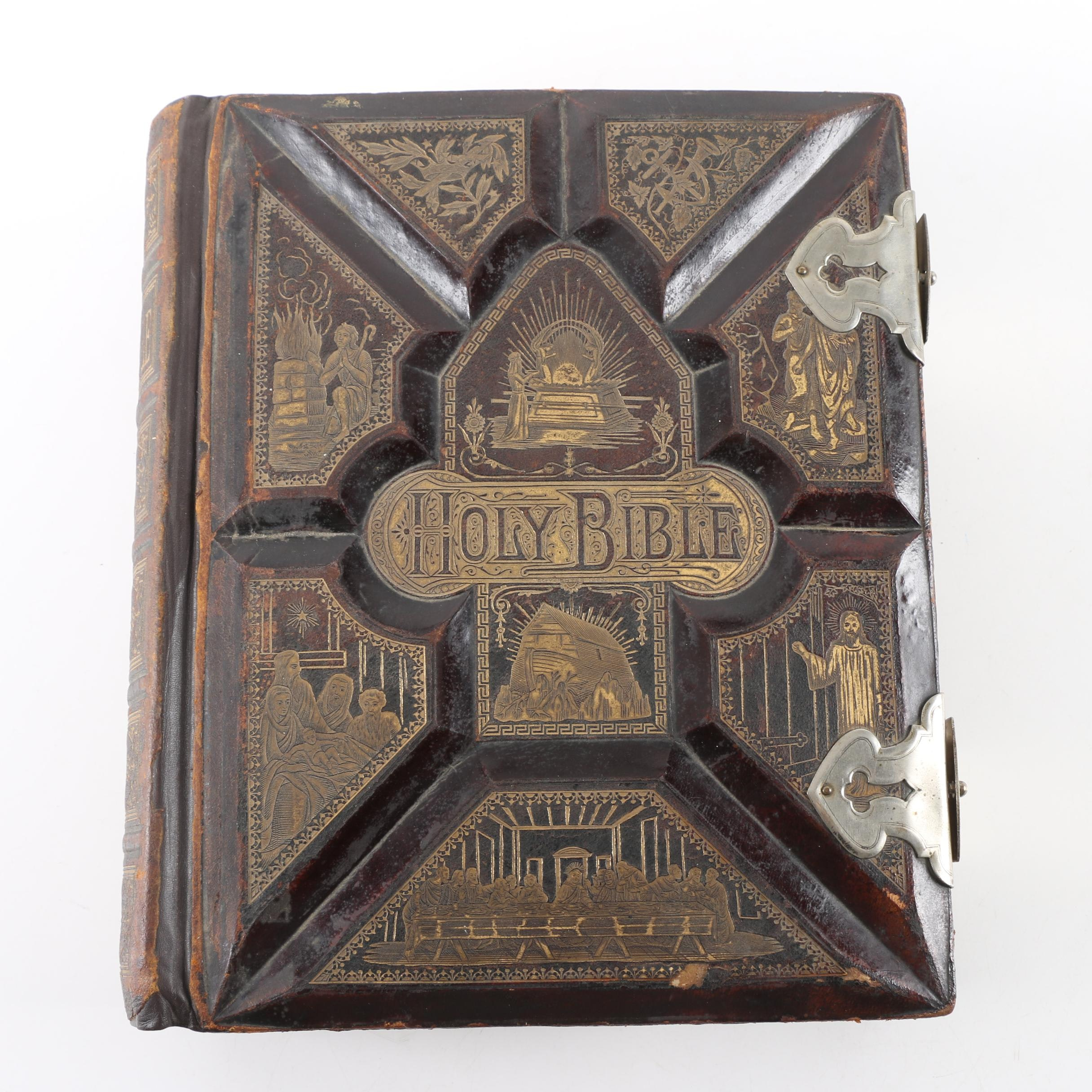 """1870s """"Pictorial Family Bible"""" Published by F.M. Dillie & Co."""