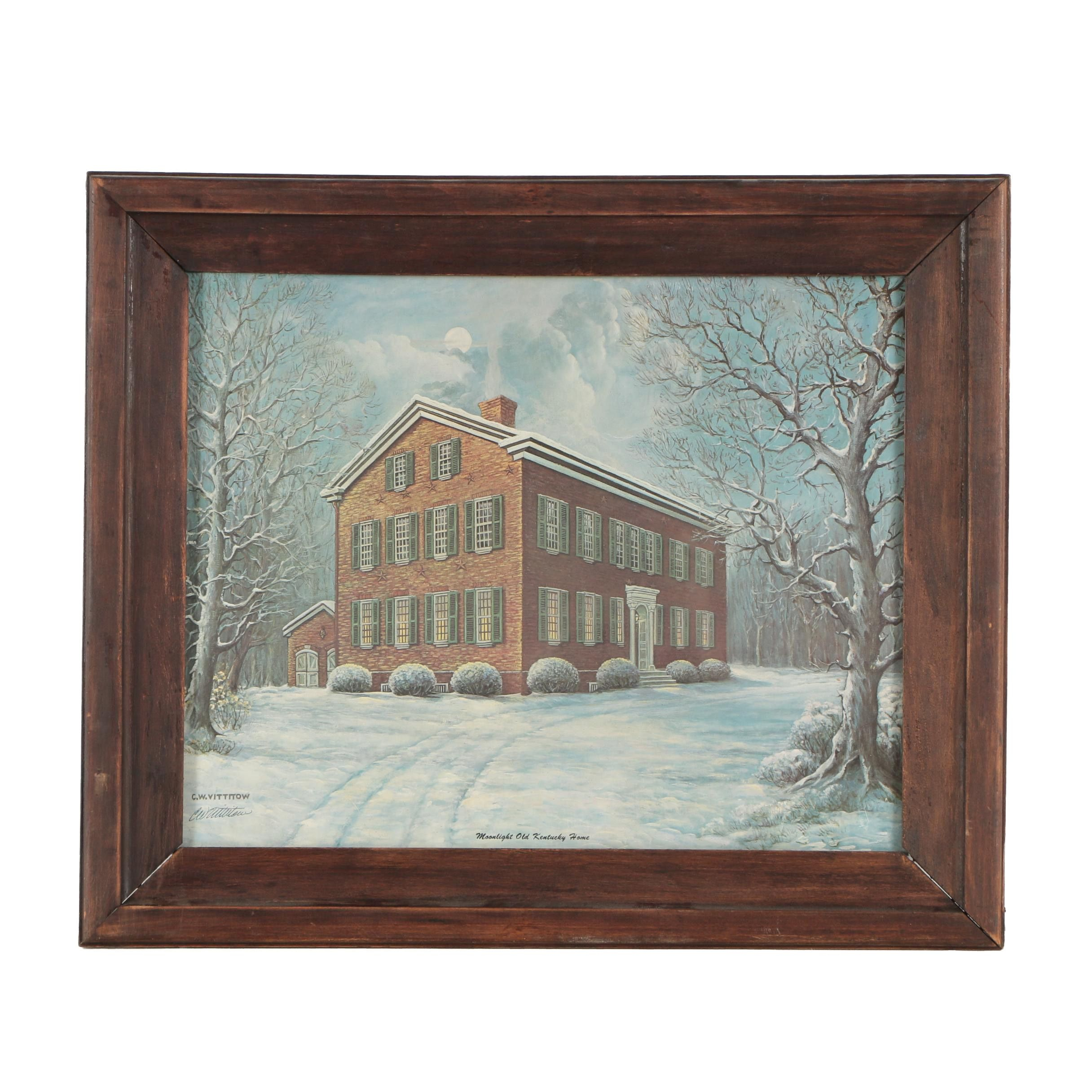 "C.W. Vittitow Offset Lithograph ""Moonlight, Old Kentucky Home"""