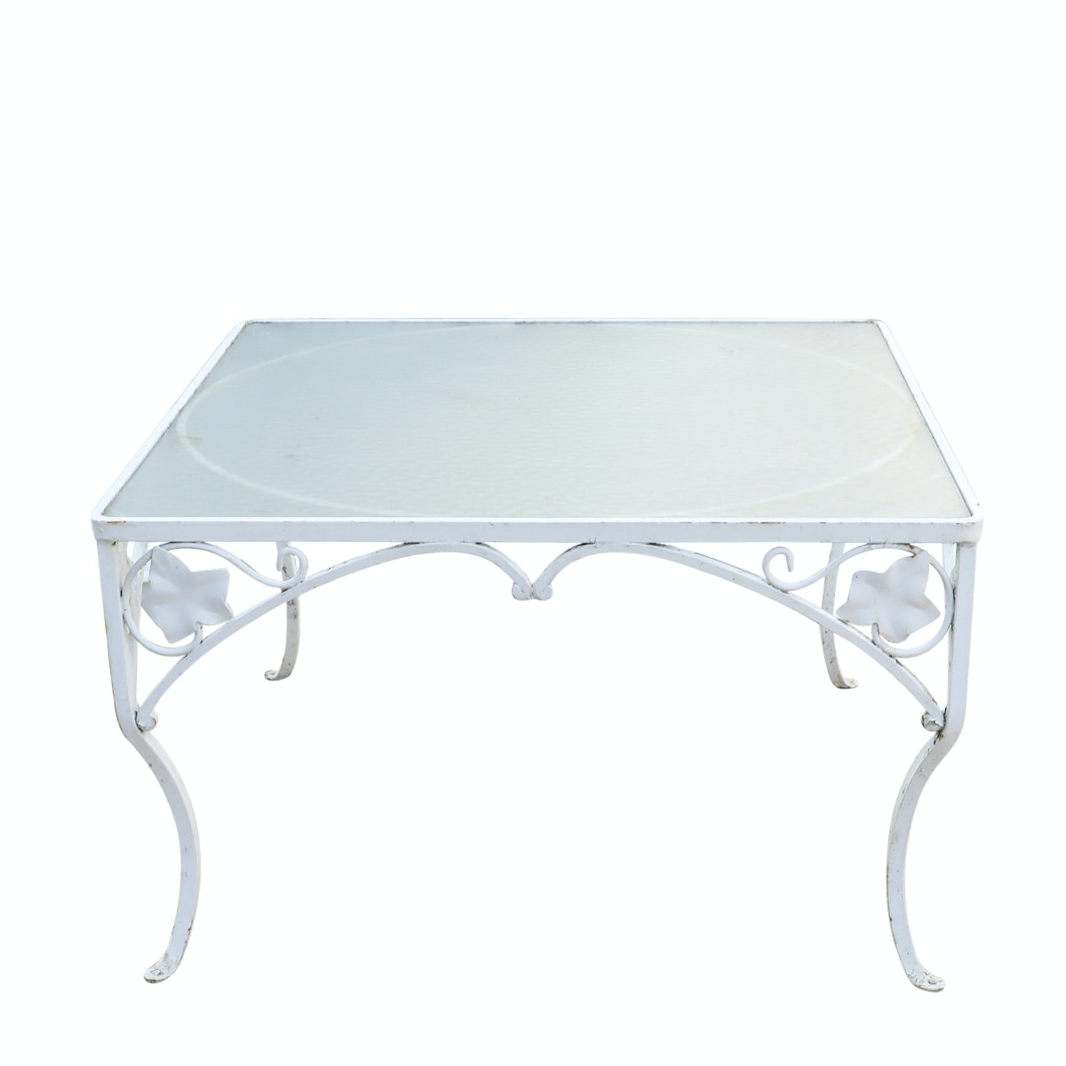 "Salterini ""Mt. Vernon"" Glass Top Metal Patio Side Table"