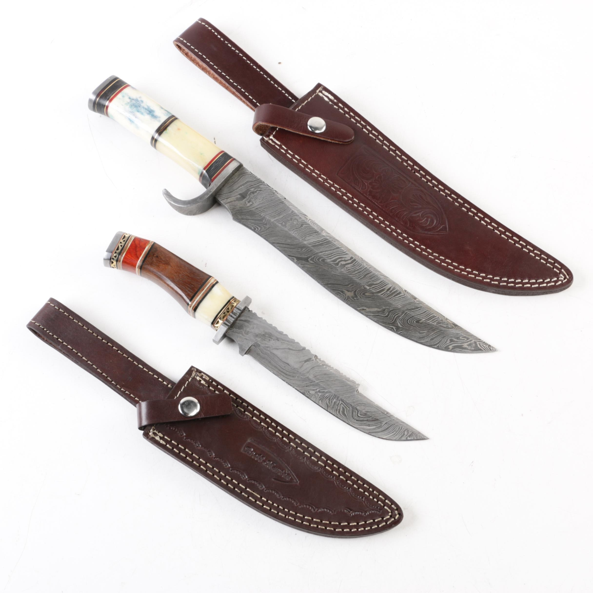 Knives with Damascus Steel Style Blades