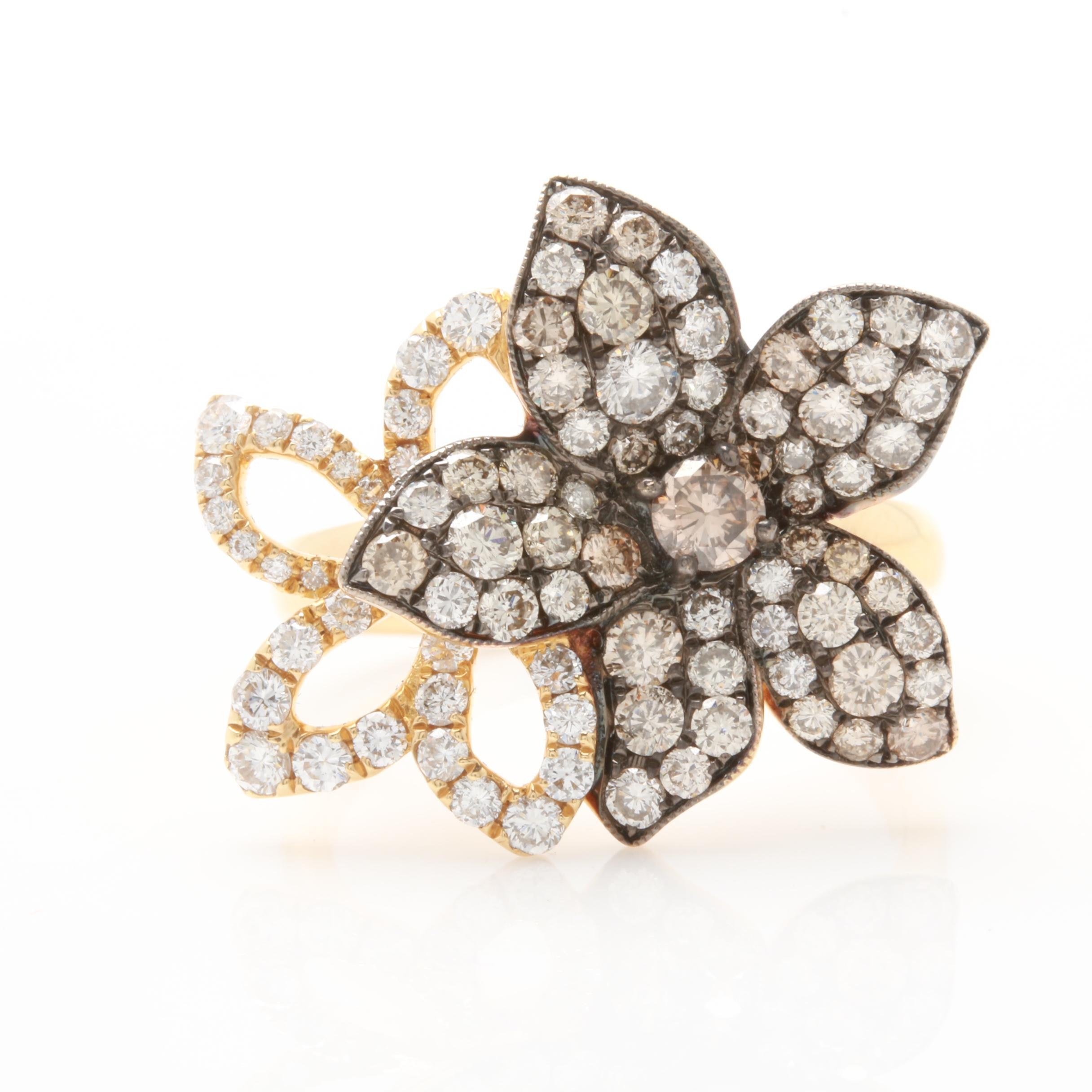 Apex 18K Yellow Gold 1.85 CTW Diamond Floral Ring with Brown Diamonds