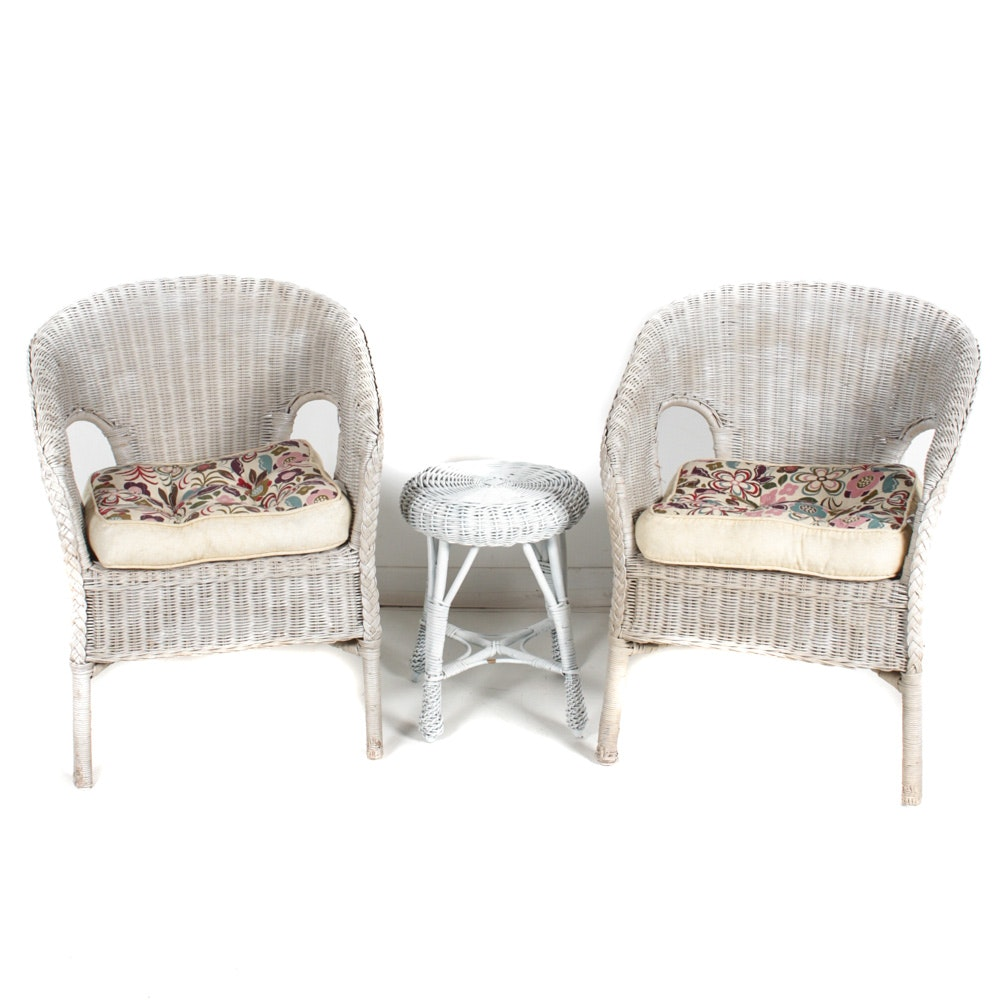 prodigious White Wicker Footstools Part - 10: White Wicker Armchairs and Footstool ...