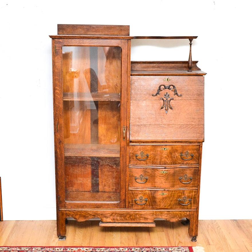 Antique Oak Side by Side Secretary Desk ... - Antique Oak Side By Side Secretary Desk : EBTH