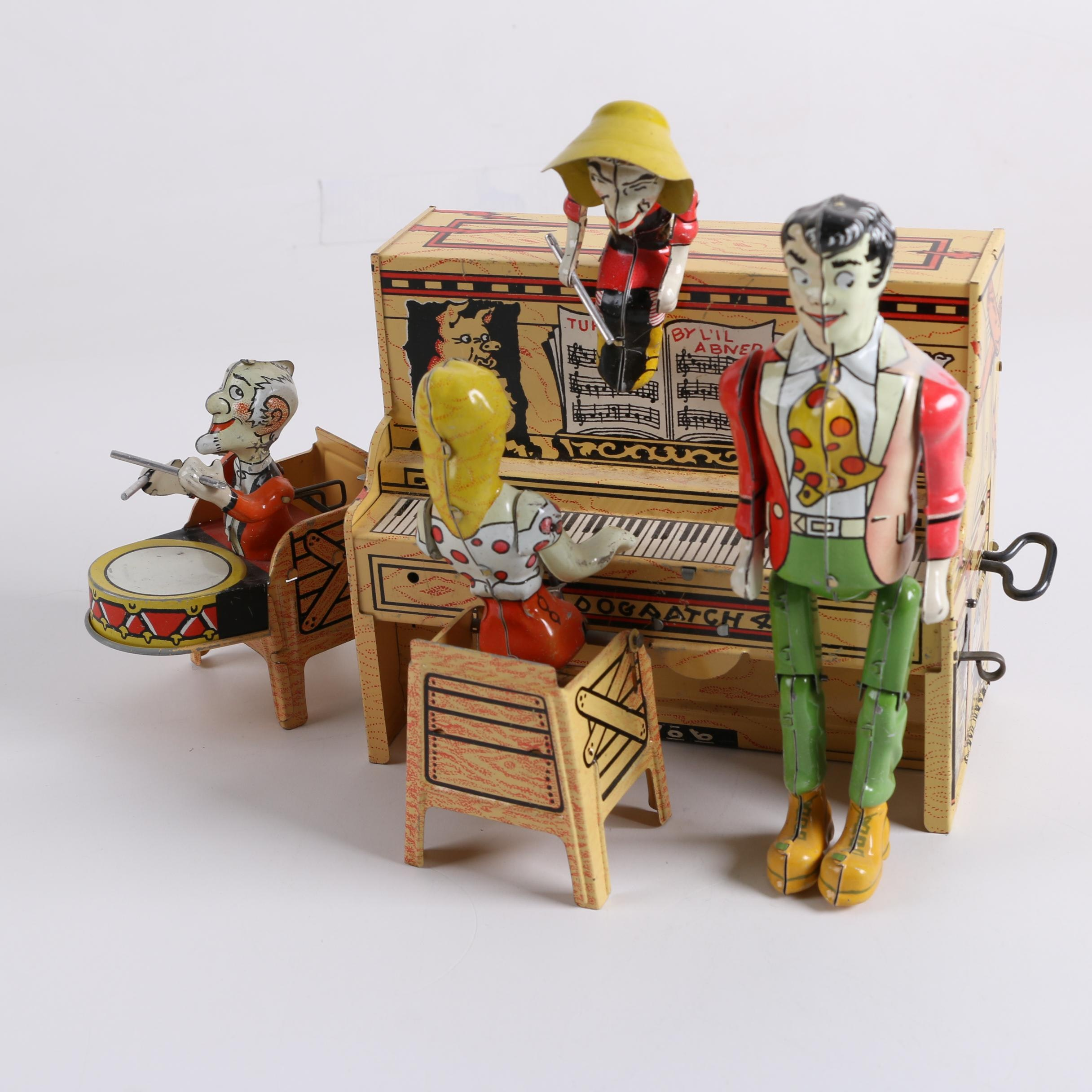 """1945 """"Li'l Abner"""" Dogpatch Band Tin Wind-Up Musical Toy by Unique Art Mfg. Co."""