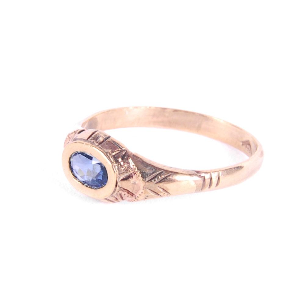 Victorian 8K Yellow Gold Sapphire Ring