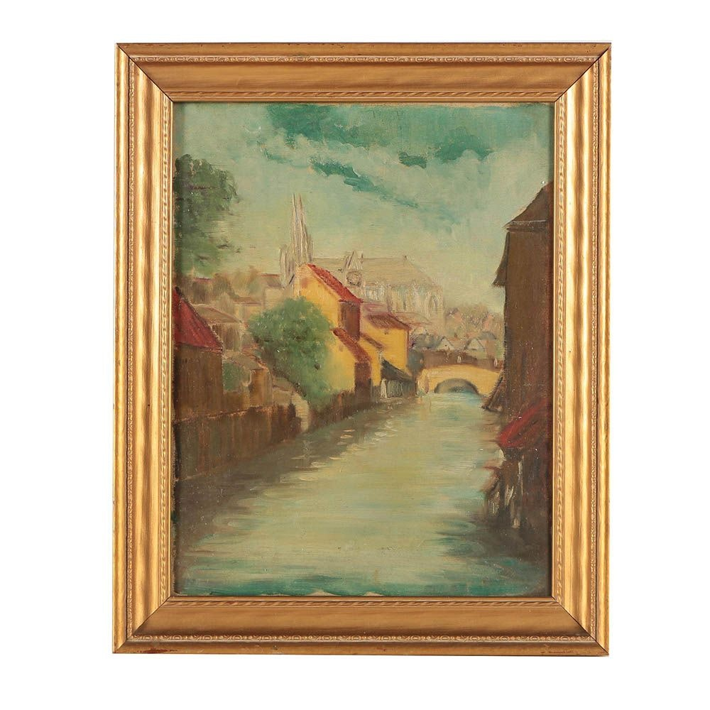 Late 20th Century Oil Painting of Village Landscape with Canal