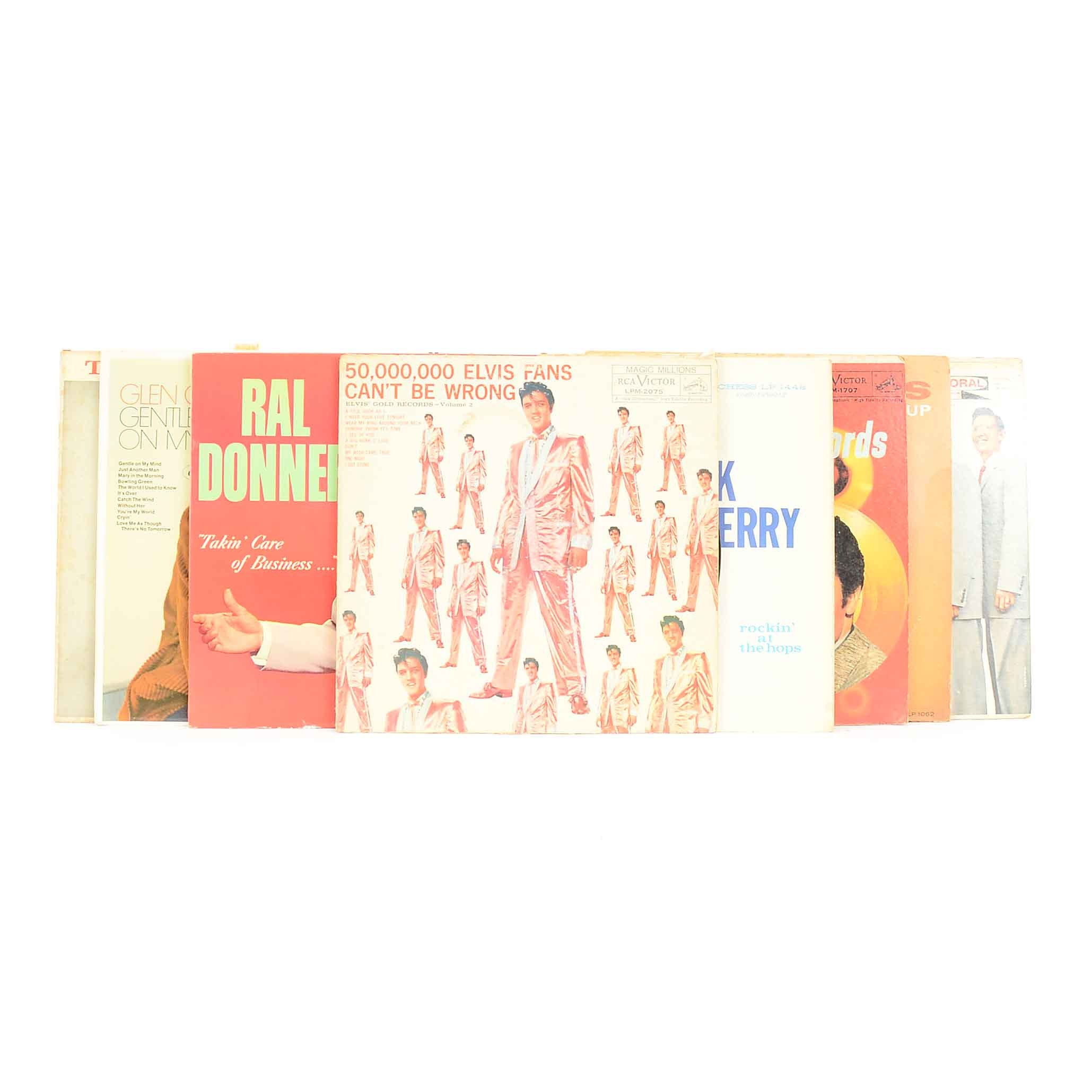 Eight 33 RPM LP Vinyl Records of Elvis and Contemporaries