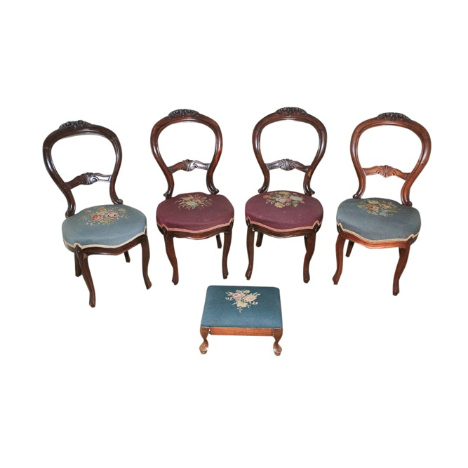 Set of Vintage Victorian Style Side Chairs with Footstool