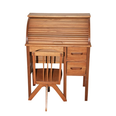 Child's Roll Top Desk and Chair