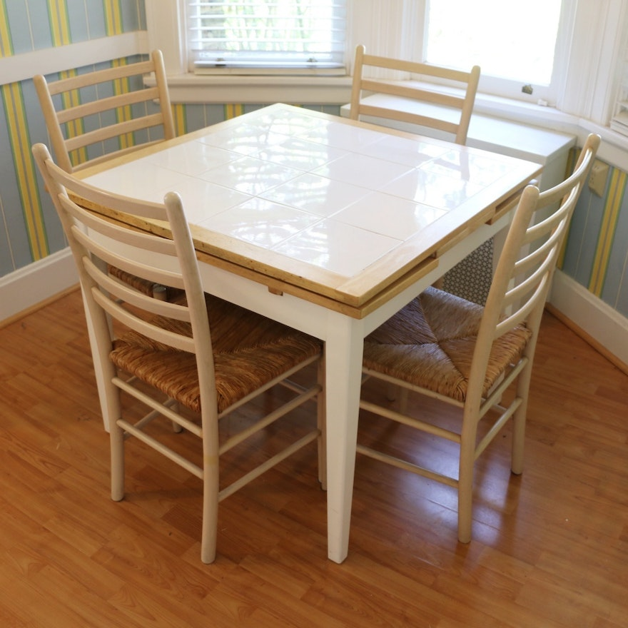 Draw Leaf Dinette Table With Ceramic Tile Top And Four Ladderback Side Chairs