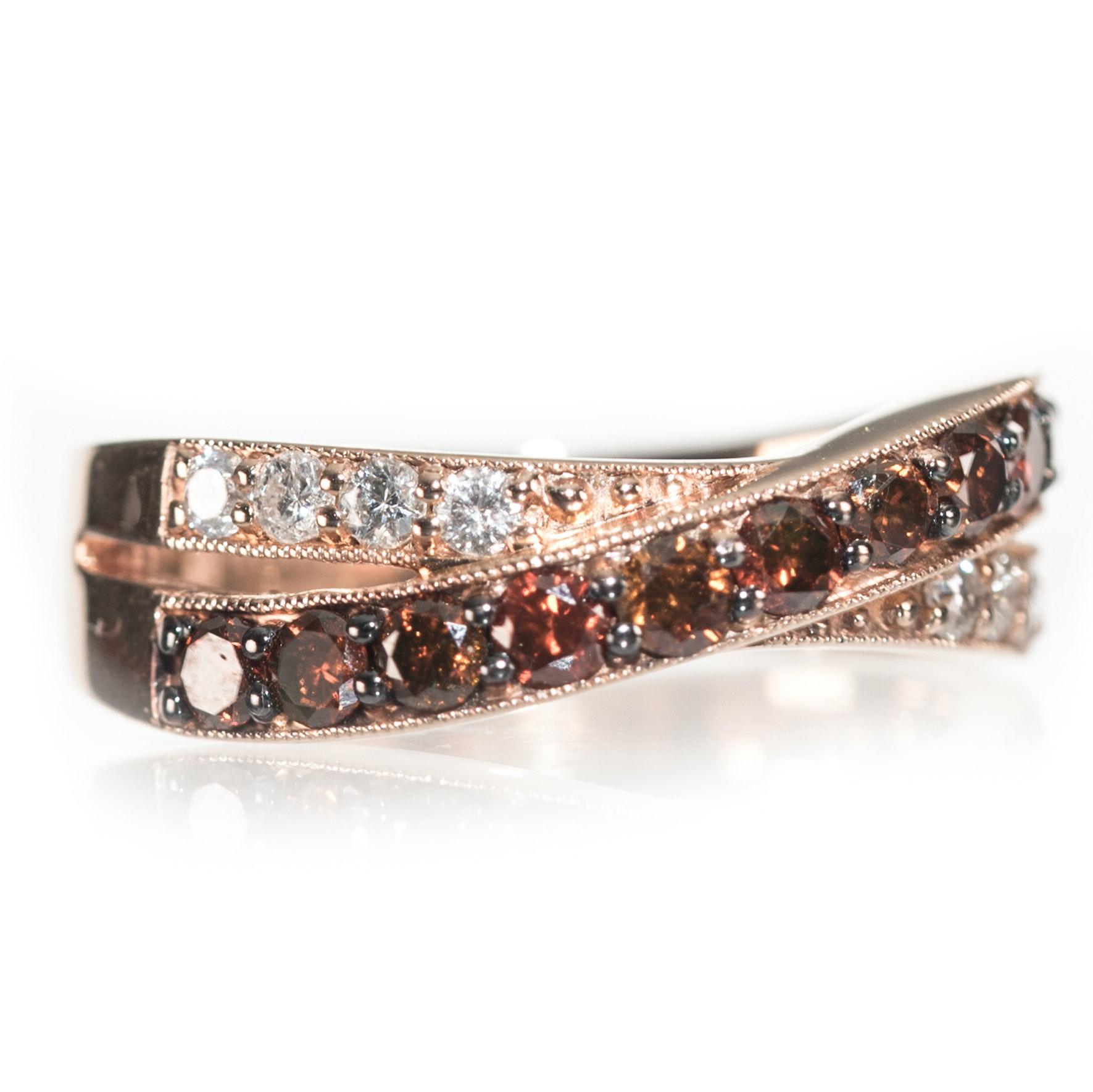 14K Rose Gold Diamond Crossover Band