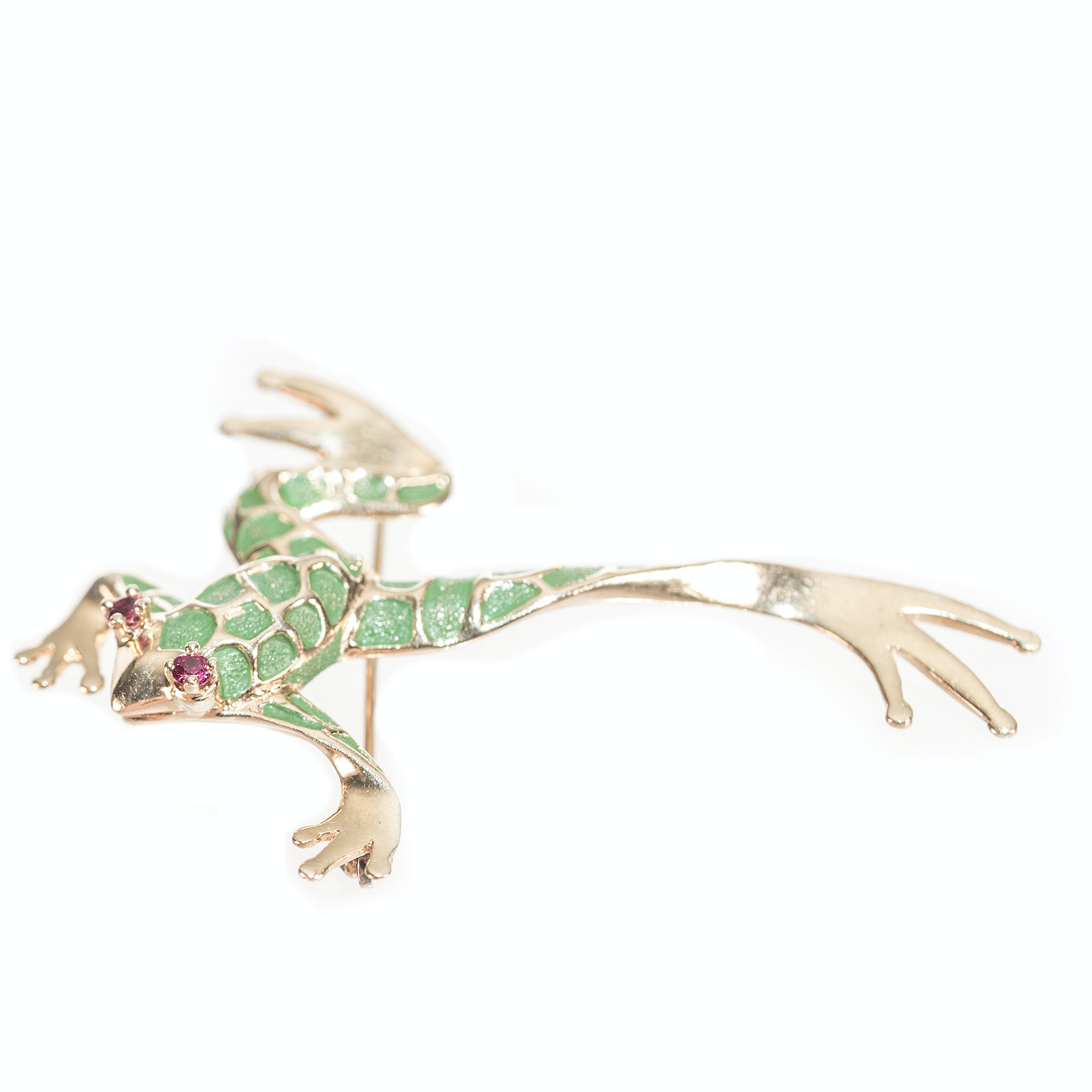 14K Yellow Gold Green Enamel and Ruby Frog Brooch