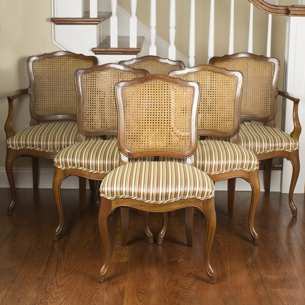 Six Cane Back Dining Chairs
