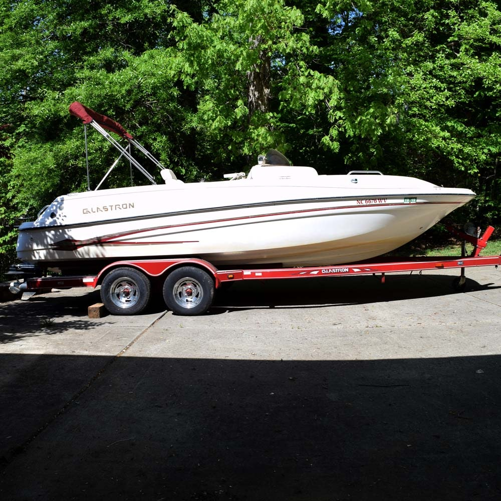 2002 Glastron DX215 Deck Boat and Trailer