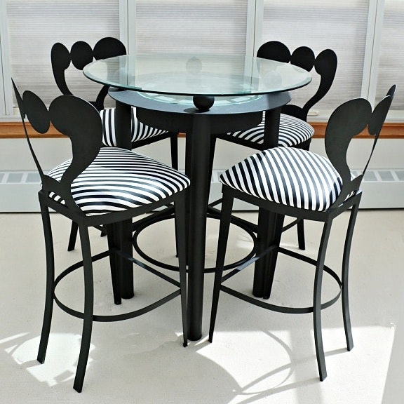 Modernist Style High Top Pub Table With Four Chairs Ebth