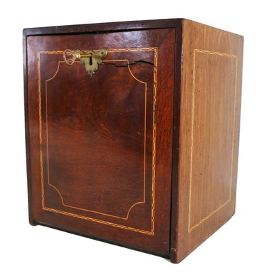 Antique Early Victorian Mahogany and String-Inlaid Fall-Front Stationary  Cabinet - Vintage And Antique Cabinets Auction In Sterling Silver, Antiques