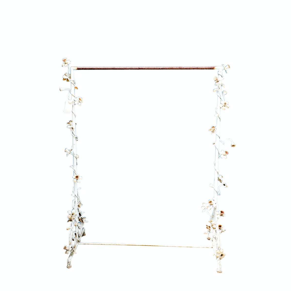 Metal Clothing Rack with Floral Accents
