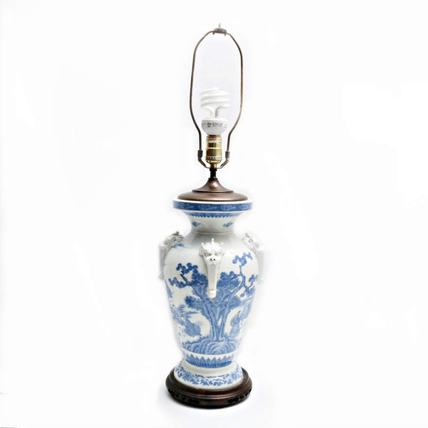 Vintage chinese porcelain painted and dragon motif vase table lamp aloadofball Choice Image